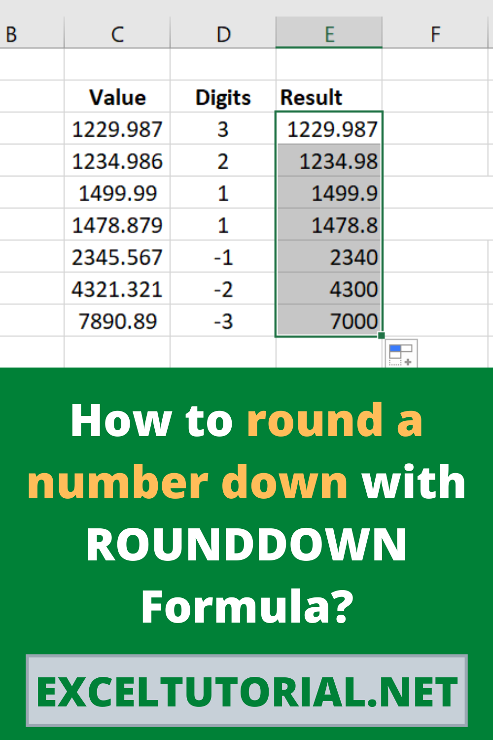 How To Round A Number Down With Rounddown Formula In 2021 Excel Tutorials Microsoft Excel Lessons Excel Formula