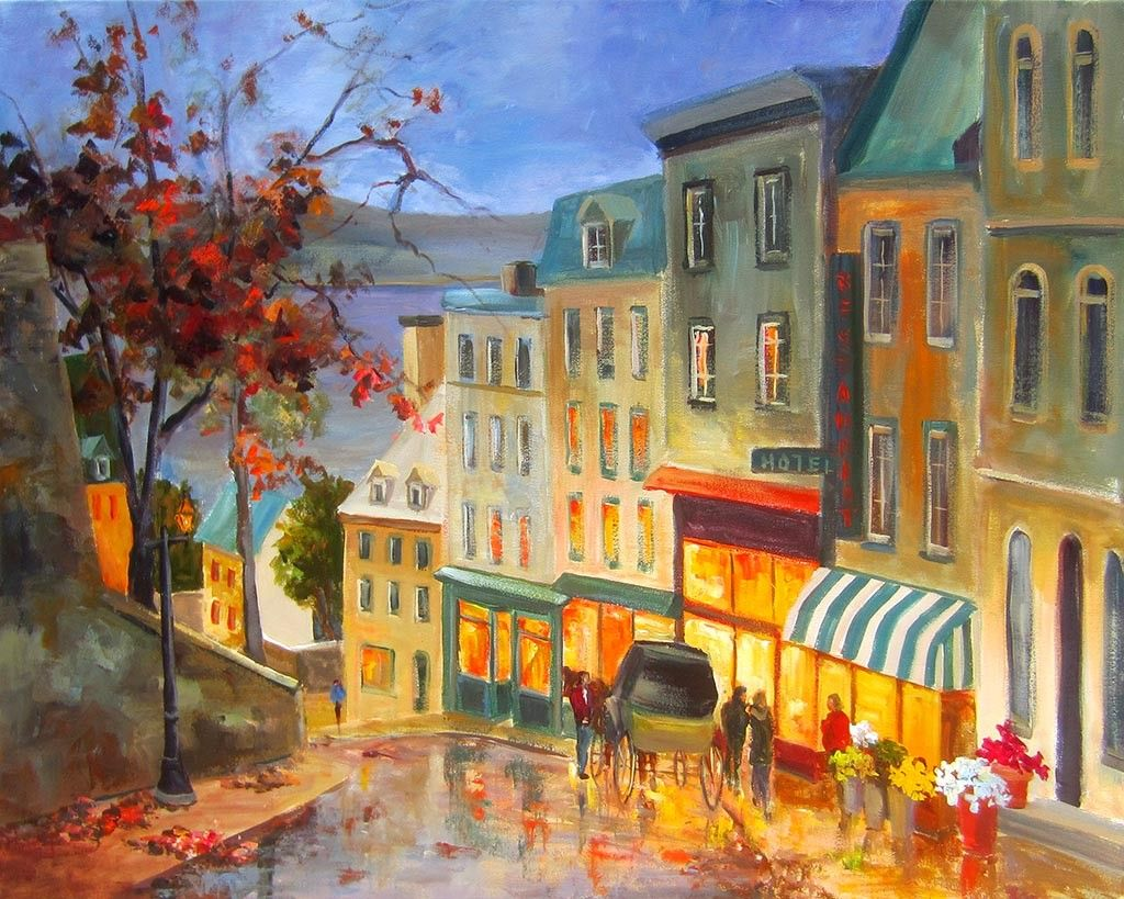 Cote De La Montagne Vieux Quebec Vieux Quebec Peinture De La