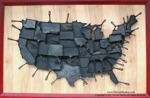 """Exclusively from the den of FeLion Studios, comes the 48 cast iron skillets of the """"Made In America"""" original state-pan art piece. Every skillet from the """"Made In America"""" series fits together with the surrounding states, making these items fun to collect and build your own geographic regions of functional skillets !"""