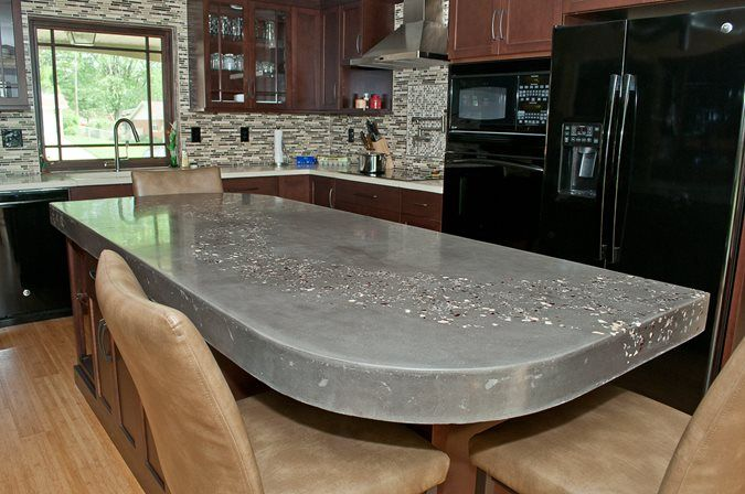 Kitchen Island, Embedded Aggregate Concrete Countertops M Concrete Studios  Dayton, OH