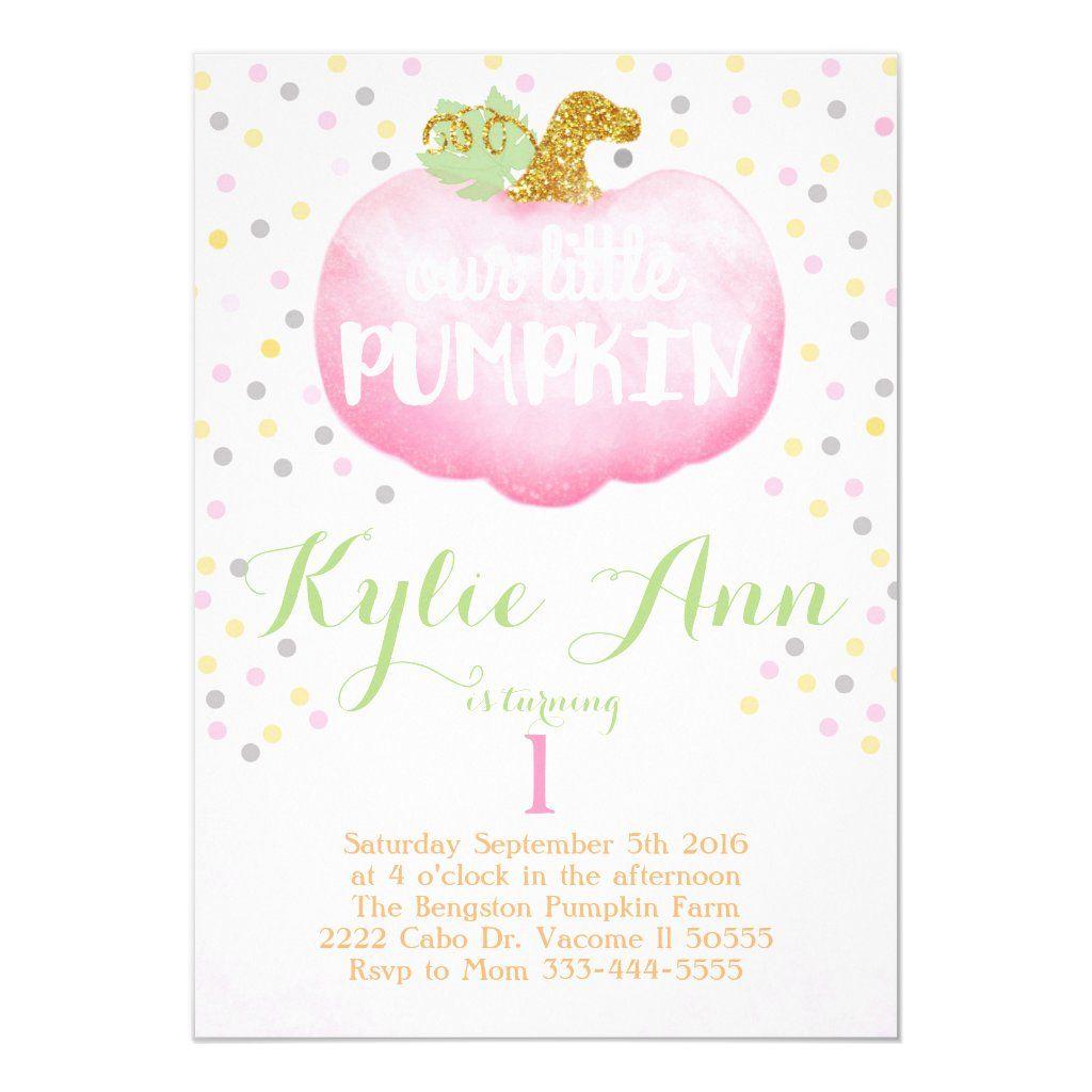 Fall pink pumpkin birthday invitation