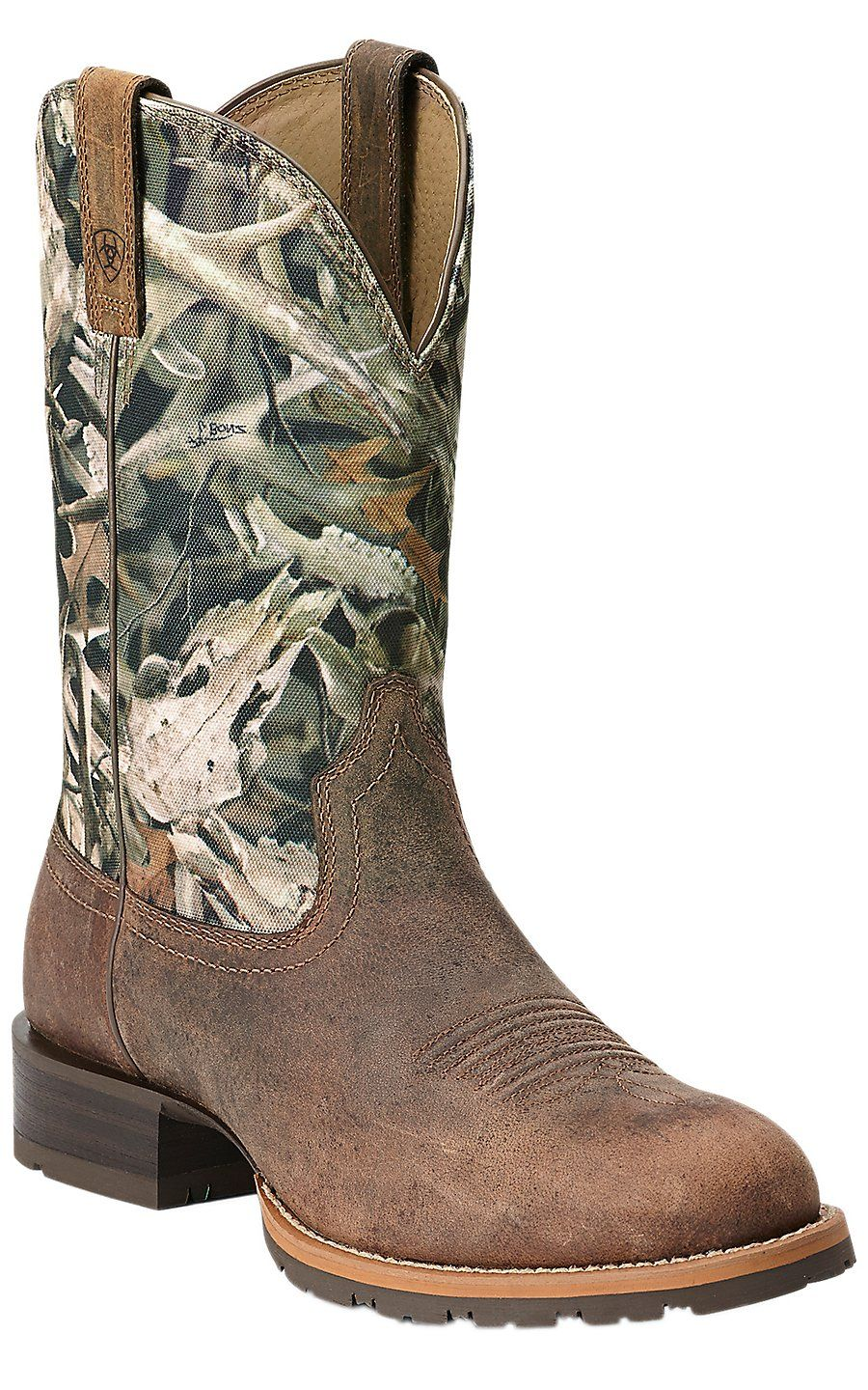 228be18429c Ariat Hybrid Rancher Men's Distressed Brown with Bonz Camo Top Round ...