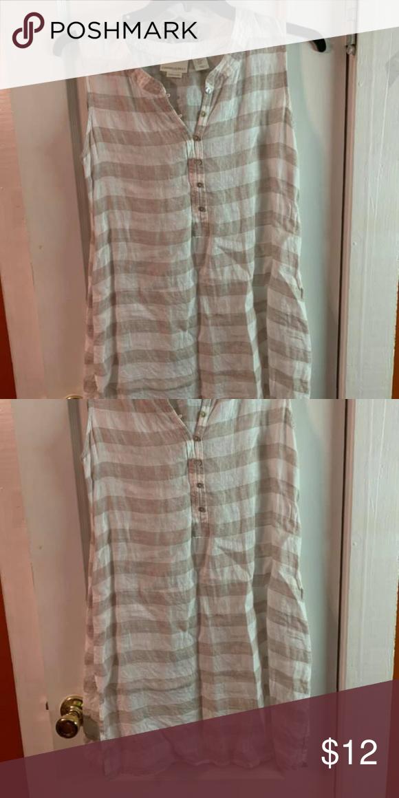 d55cc26b904d M cynthia rowley linen tunic Like new, tan/white stripe tunic. slits ...