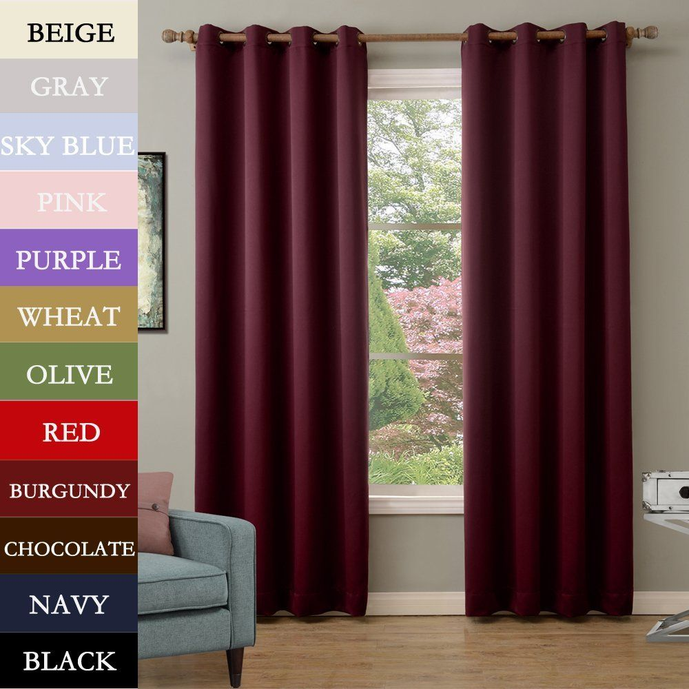solid antique bronze grommet polyester drapes burgundy blackout curtains
