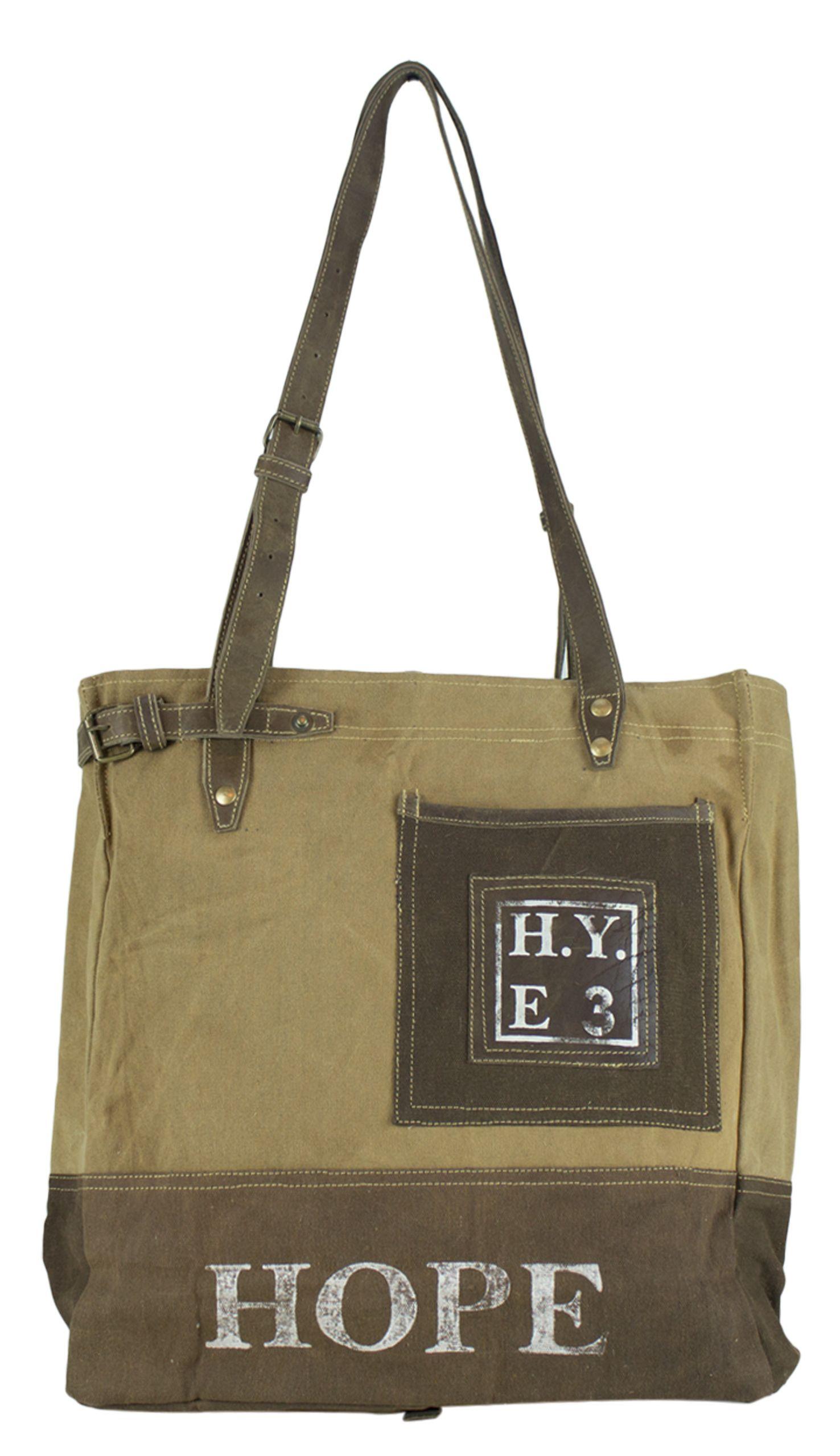 a6f0e49ebe9d1 hellbraune   dunkelbraune HOPE Tasche Schultertasche Handtasche Shopper aus  Canvas  Segeltuch von SUNSA in Vintage Optik.