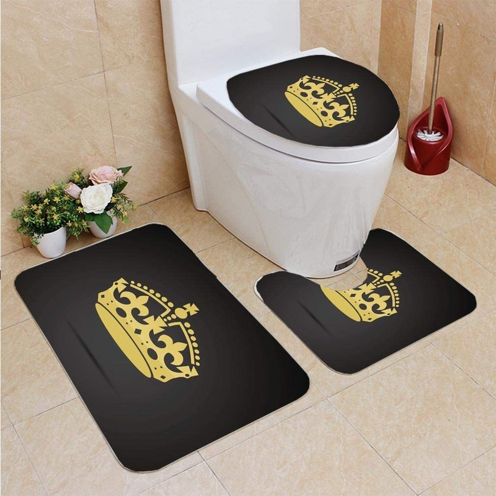 Crown Icon 3 Piece Bathroom Rugs Set Bath Rug Contour Mat And Toilet Lid In 2020 Bathroom Rug Sets Bathroom Rugs Contour Mat