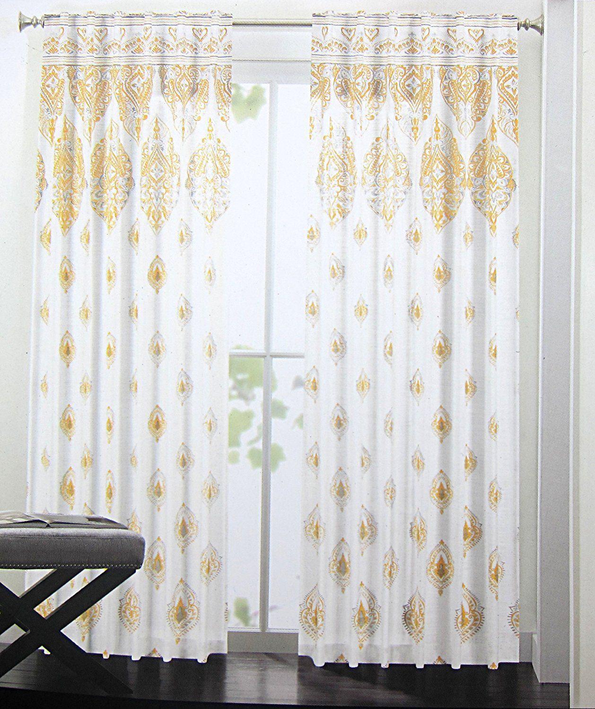 Amazon Com Cynthia Rowley Set Of 2 Curtain Panels Yellow Gray
