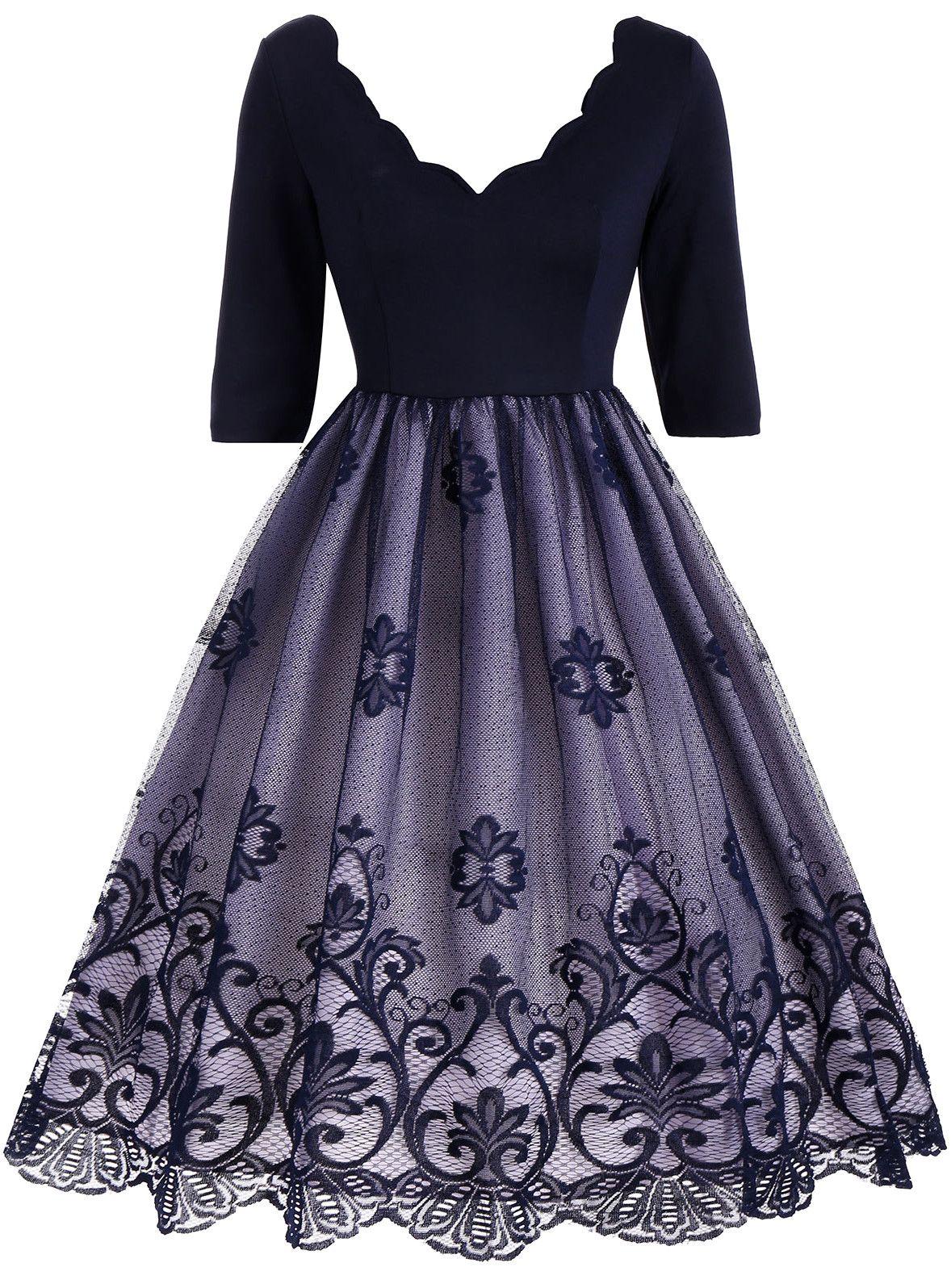 Floral Lace Panel V Neck Vintage Dress - Deep Blue - Xl