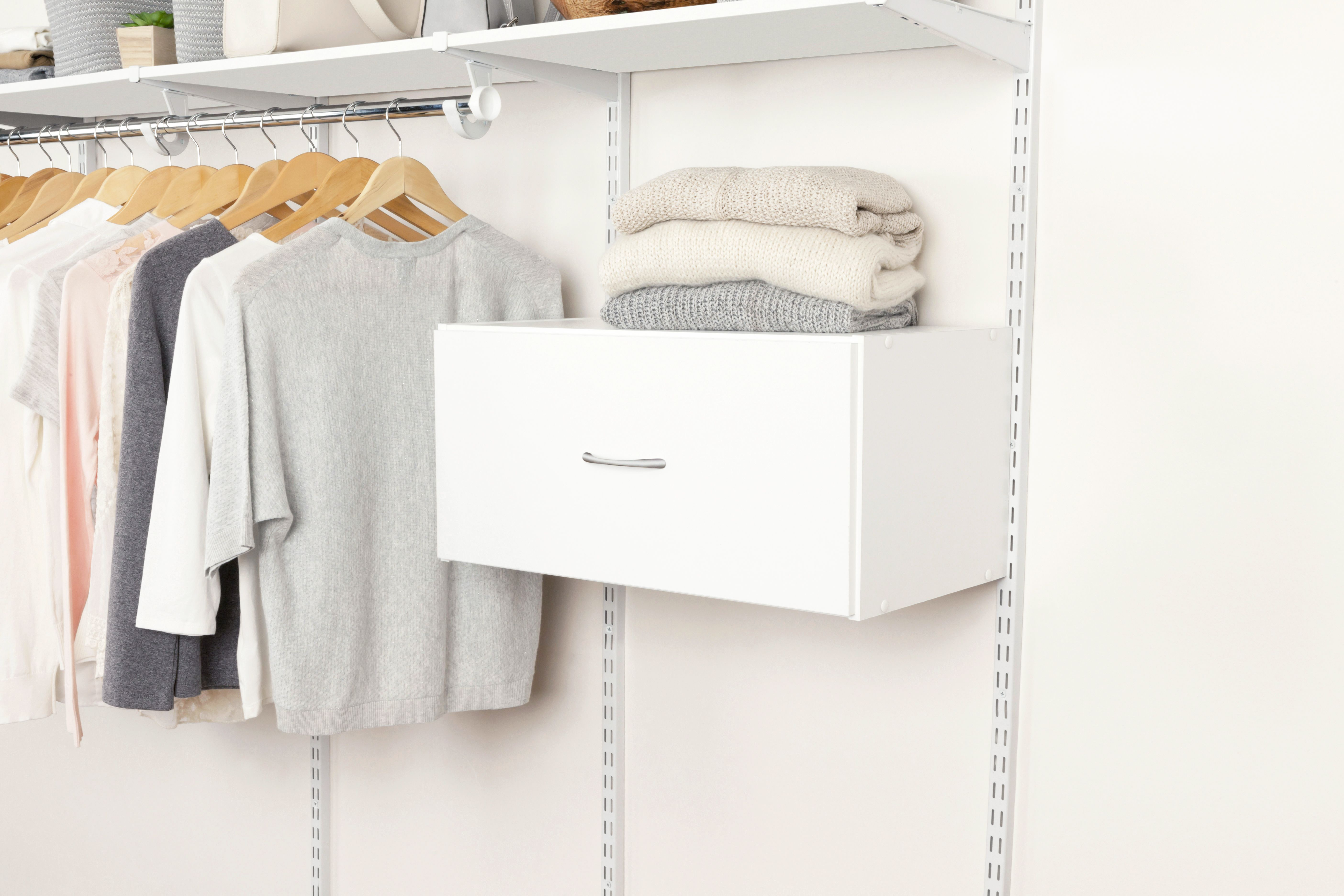 Add Decorative Drawer Space To Your Rubbermaid Fasttrack Closet Rubbermaid Lowes Closet Organization Organize Wood Drawers Drawers Closet Organization
