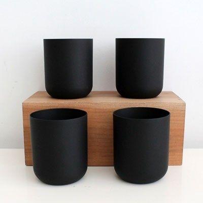 Matte Black Glass Cup Black Glass Decor Kitchen Decor