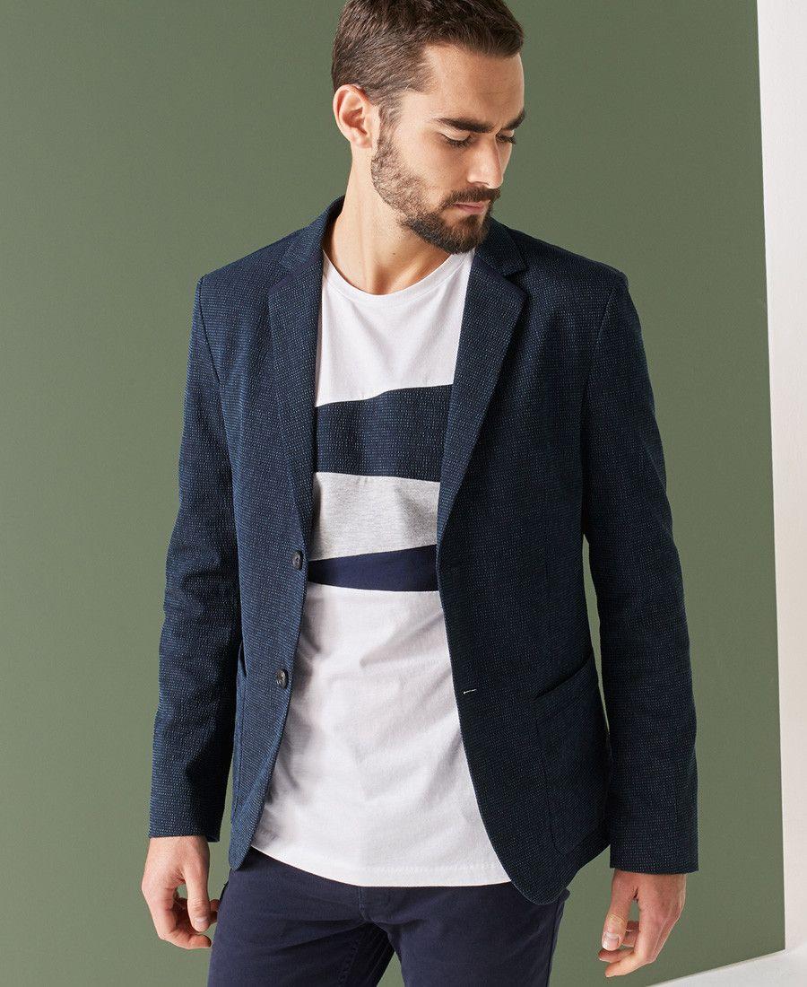 Veste cuir bleu one step