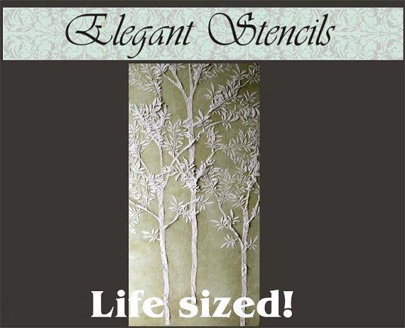 Tree Stencil Plaster Stencil Life sized Sapling Tree Stencil Wall