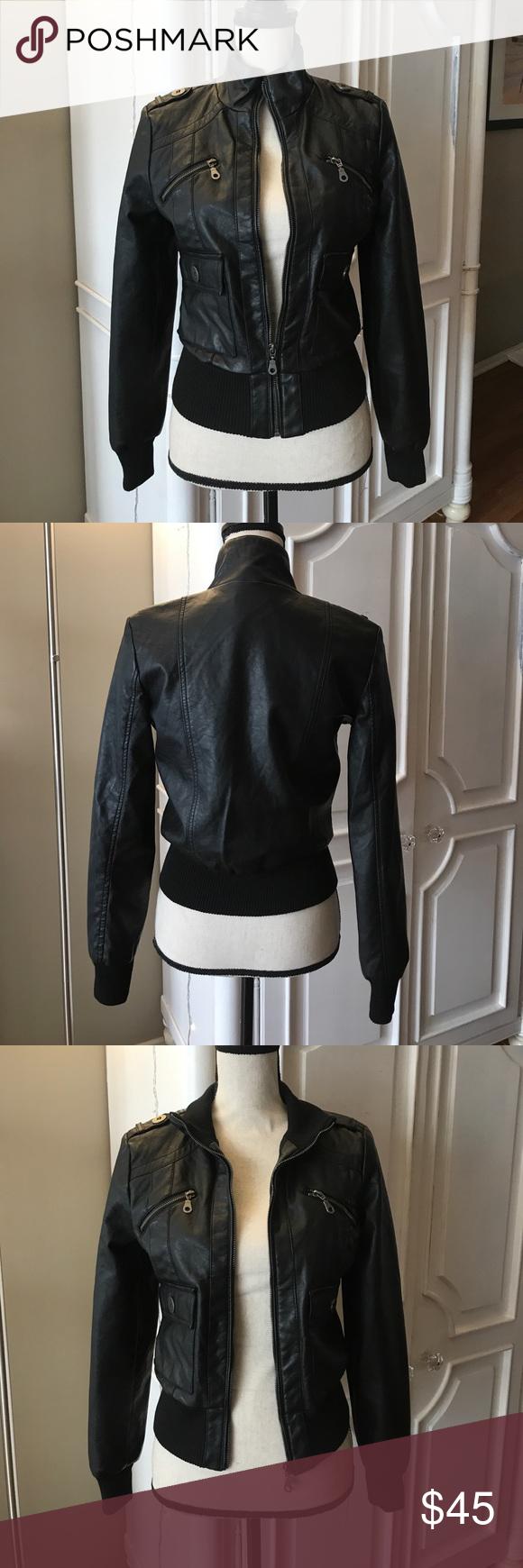 Vegan leather black bomber jacket Boutique Black bomber