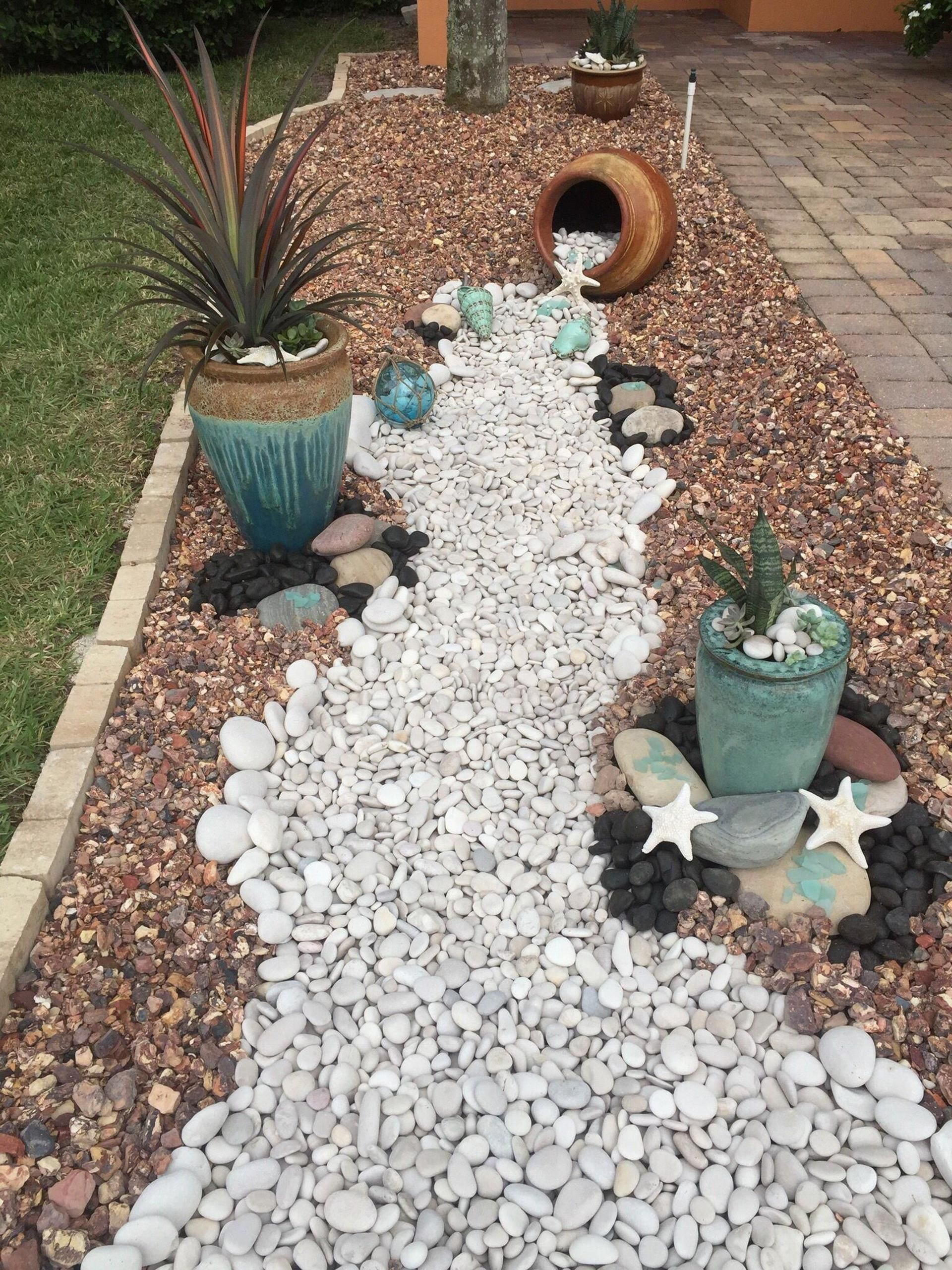 Excited Front Yard Landscaping Ideas with White Rocks - Decor