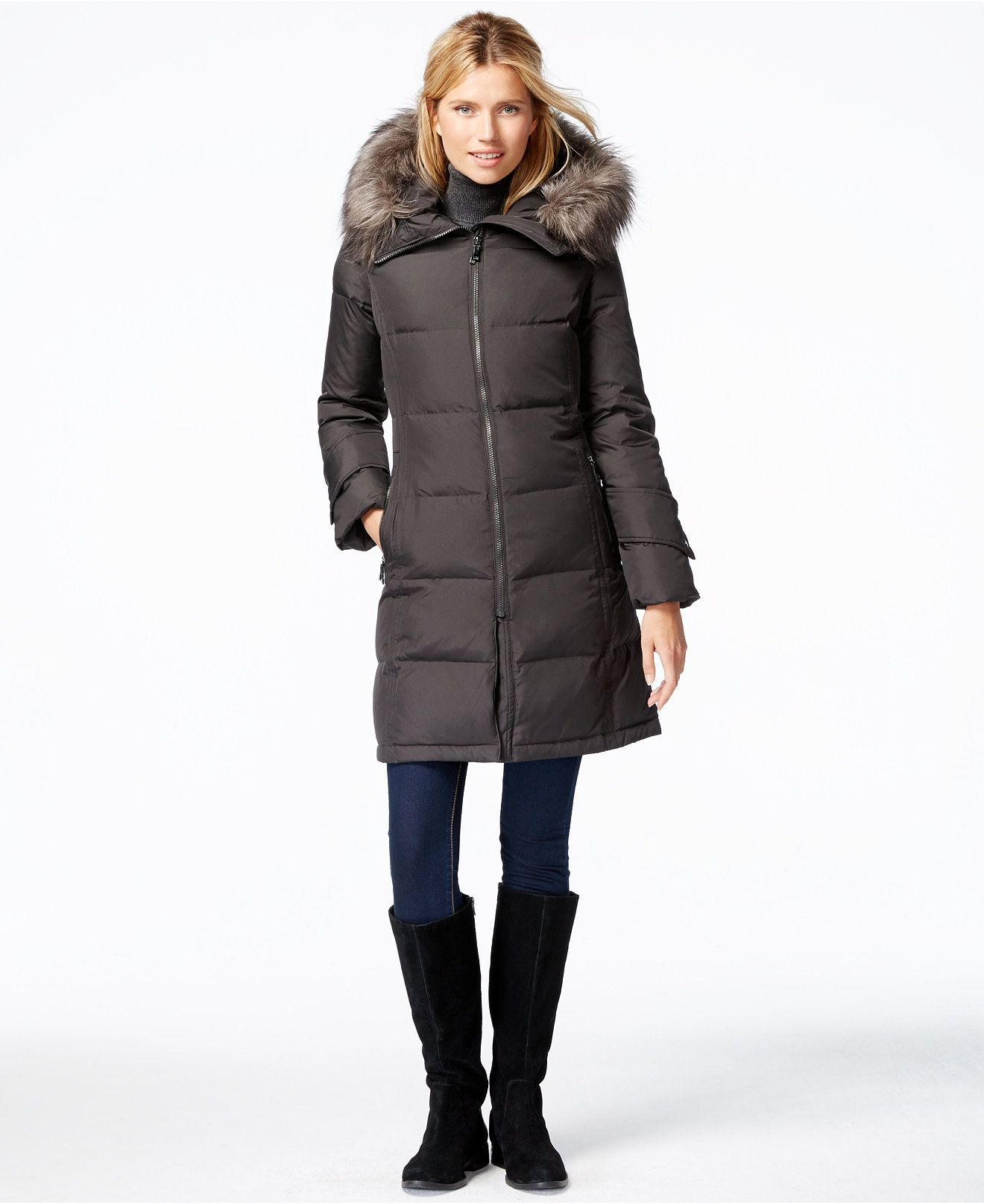 Calvin Klein Faux-Fur-Trim Puffer Down Jacket - Coats - Women ...