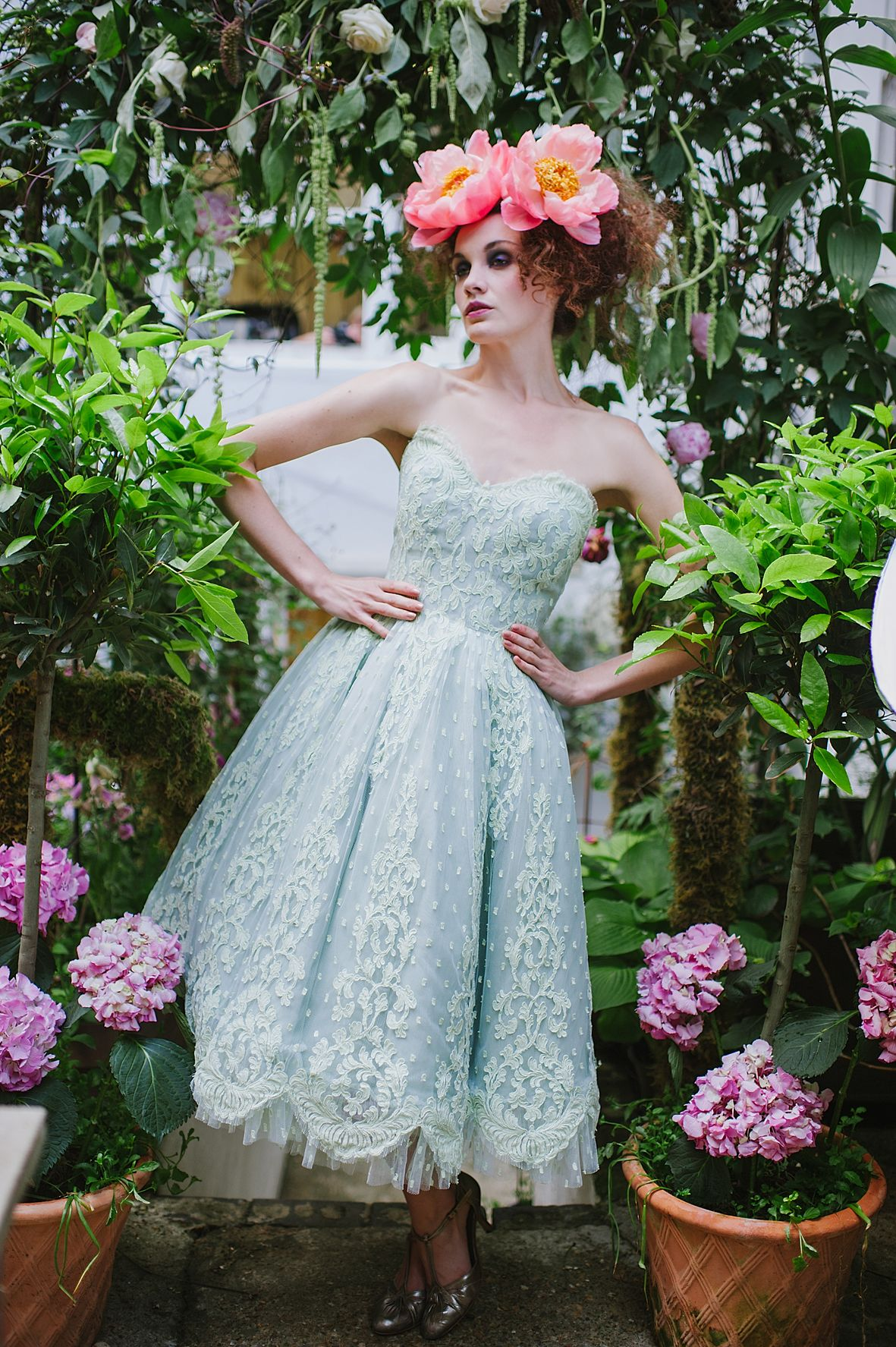 Joanne Fleming Design Briony mint green lace tea length wedding gown ...