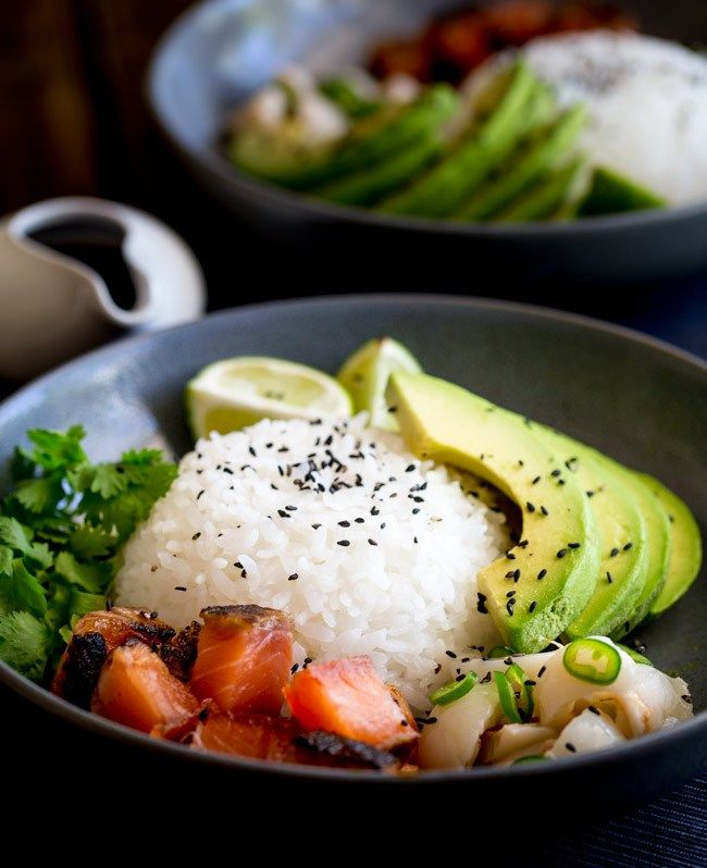 Sweet salty Salmon, Creamy Avocado and a Lychee Salsa that ...