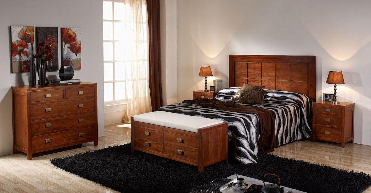 Dormitorio colonial de muebles de madera de teka muebles - Muebles teka sevilla ...