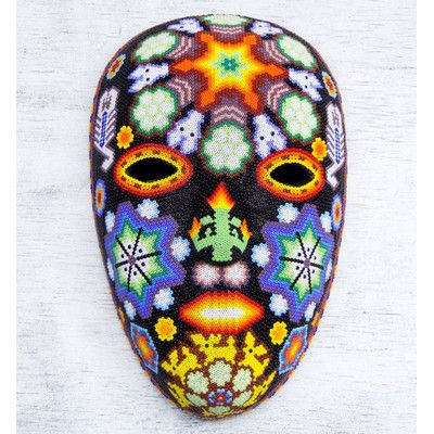 Novica Hand-Crafted Huichol Papier Mache Mask with Beadwork Wall Decor
