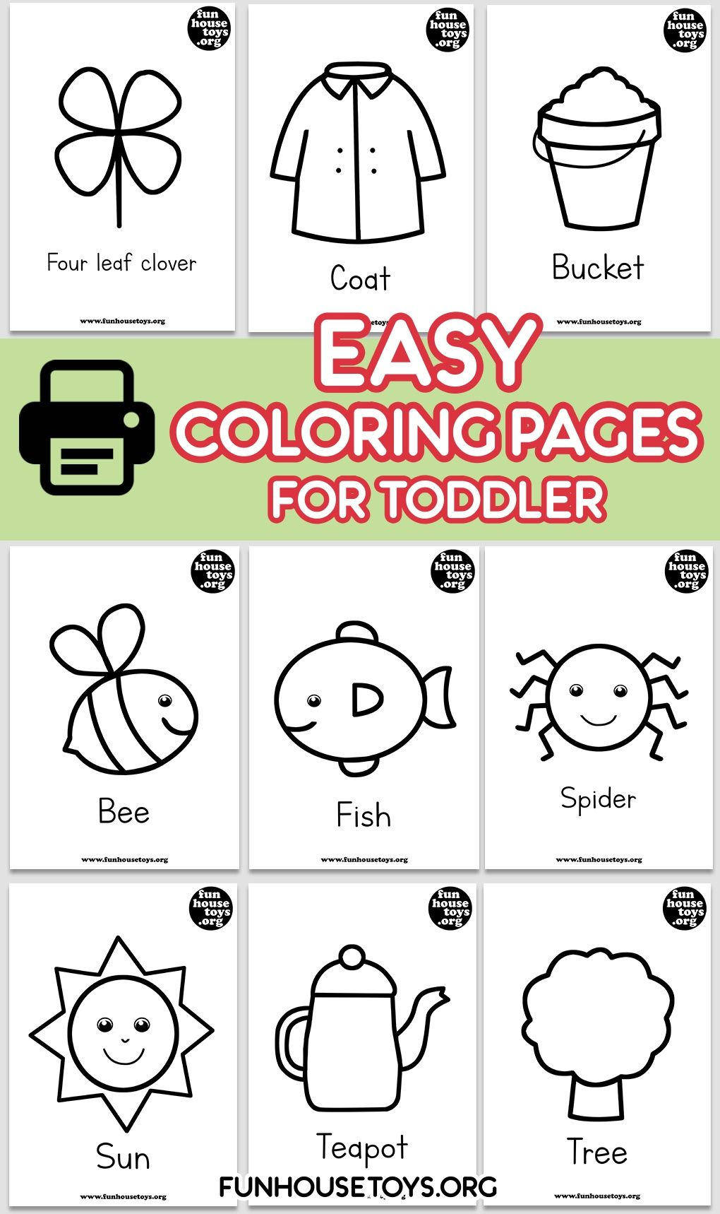 These super simple coloring sheets, with big areas to ...
