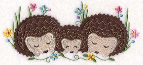 Cuddling Hedgehog Family (Crafty Cut Applique) design (Y4972) from www.Emblibrary.com