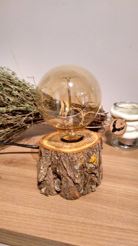 L mpara tronco de madera edison l mpara r stica - Lamparas de pie rusticas de madera ...
