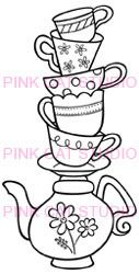 Tea Cups Stacked Tea Cups Clip Art Digi Stamp