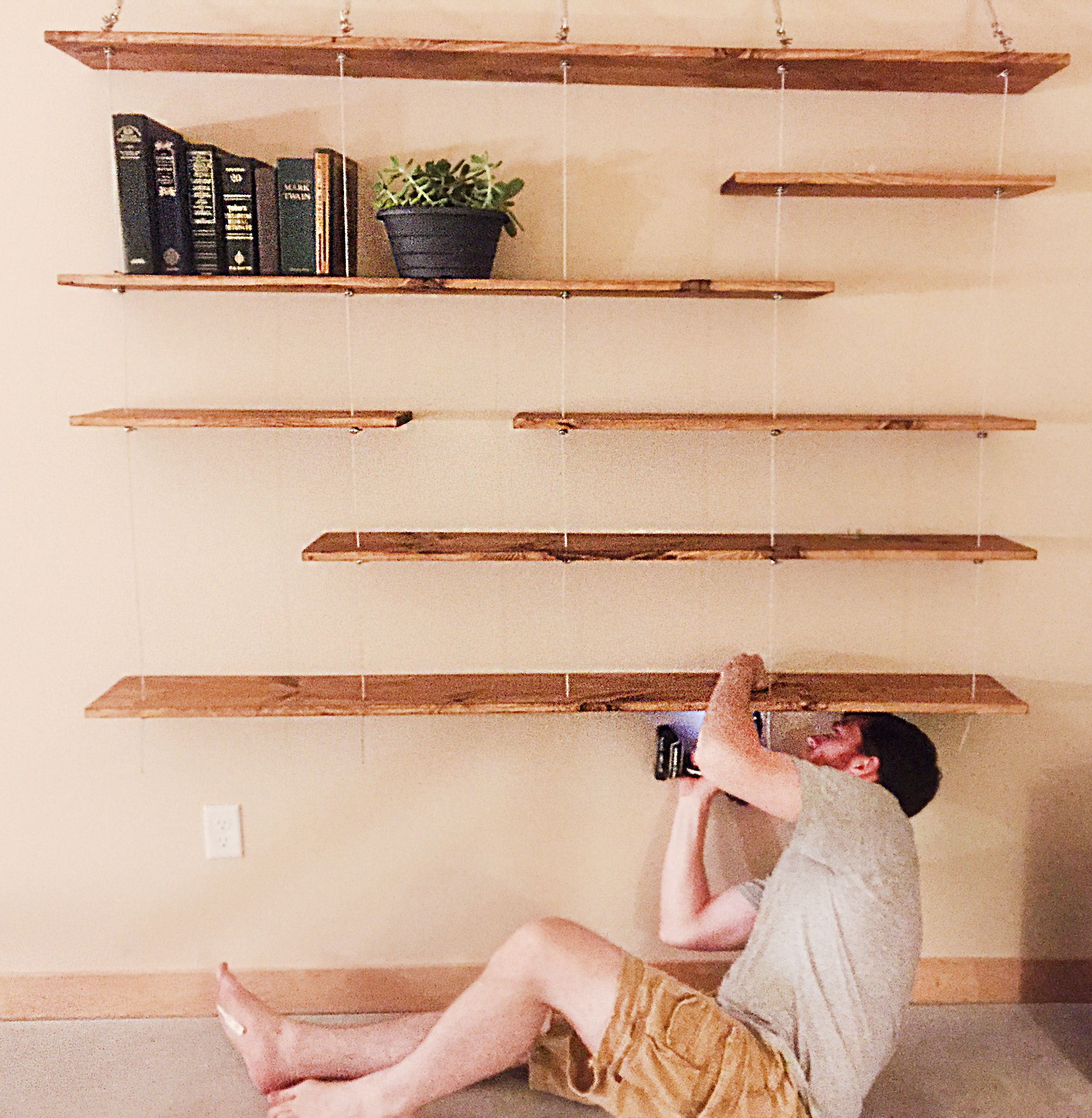 Created Custom Turnbuckle Cable Floating Shelves Originally Saw On A Website For 1100 On Sale We Were Able To Create Shelves Diy Wall Shelves Diy Shelves