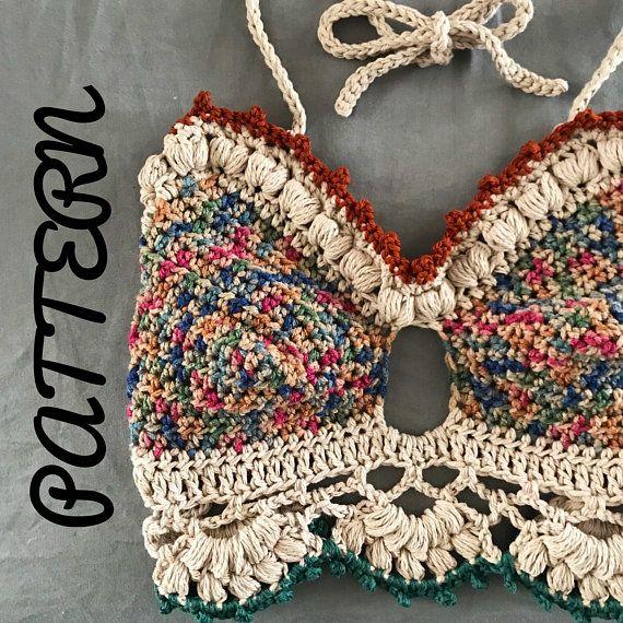 Crochet bralette PATTERN , crochet top pattern Bralette Top Pattern Crochet Crop Top Crochet Lace Top Crochet Bikini Top Crochet Bra #craftstomakeandsell