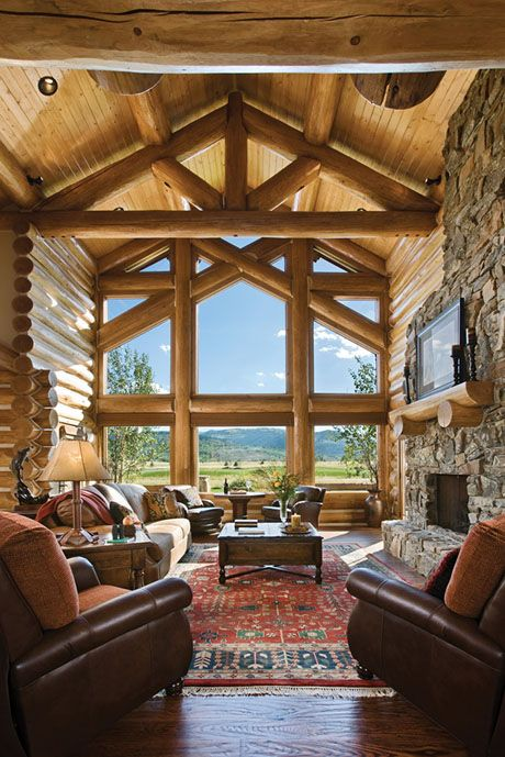 Great Room Handcrafted Trusses With A Window Wall Log