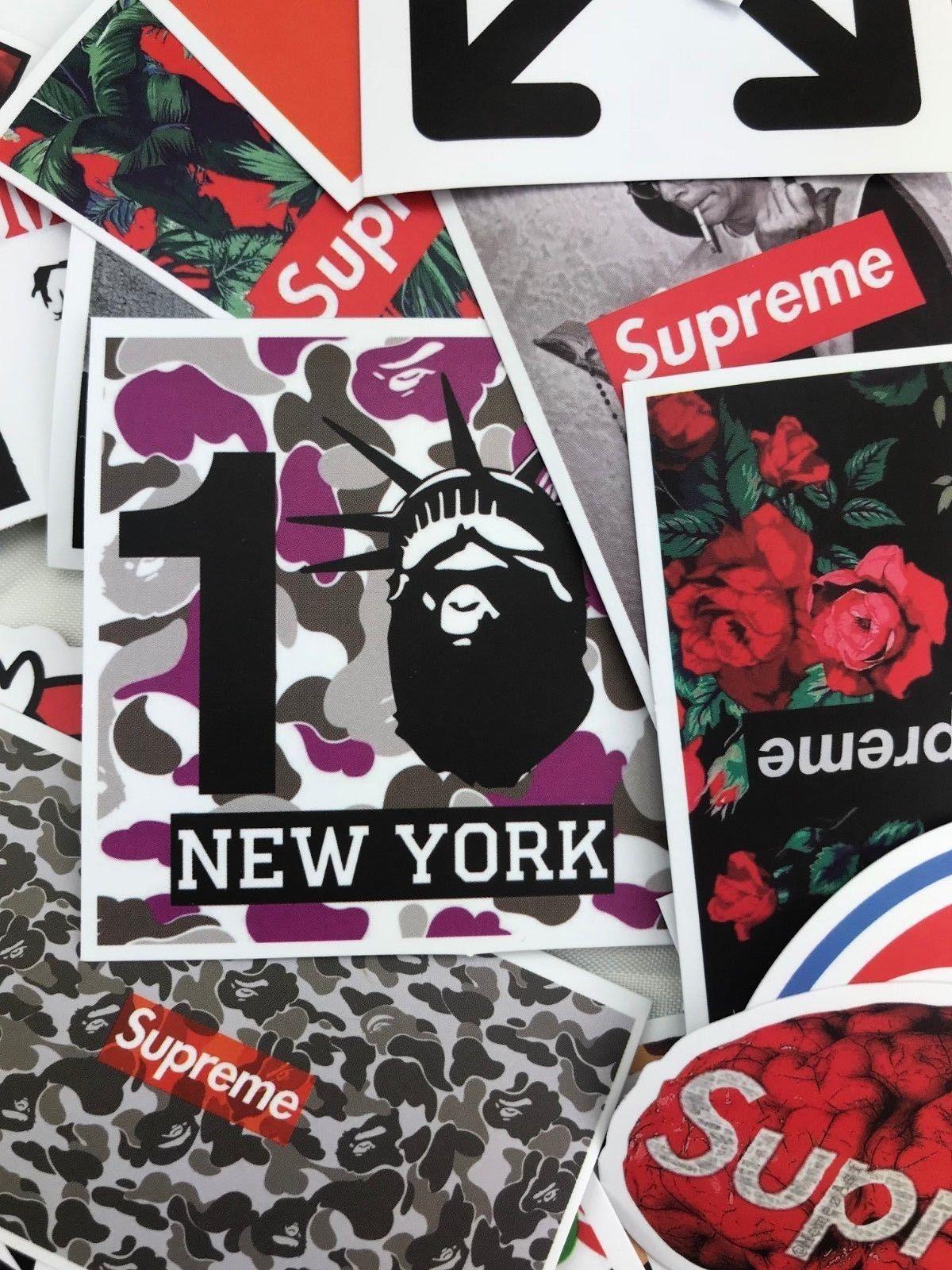100 Random Sticker Pack Hypebeast Supreme Bape Off White Vlone Streetwear