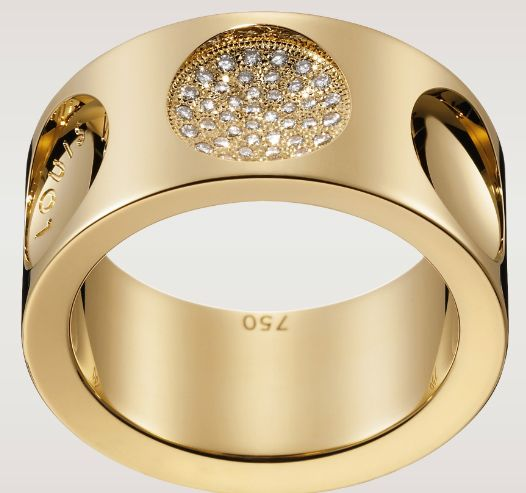 Large Empreinte Ring with diamonds