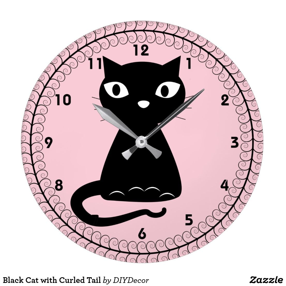 Black Cat with Curled Tail Large Clock