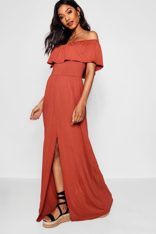 360a9ffbf45d Ruffle Bandeau Slip Front Maxi Dress in 2019 | Bridesmaids Dresses ...