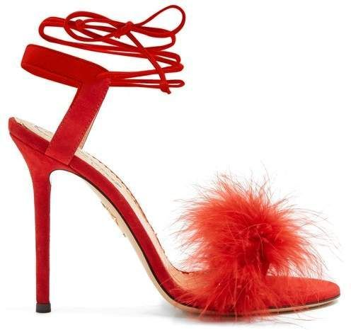 1133cf55f5a Charlotte Olympia Salsa Feather Embellished Suede Sandals - Womens - Red   CharlotteOlympiaHeels