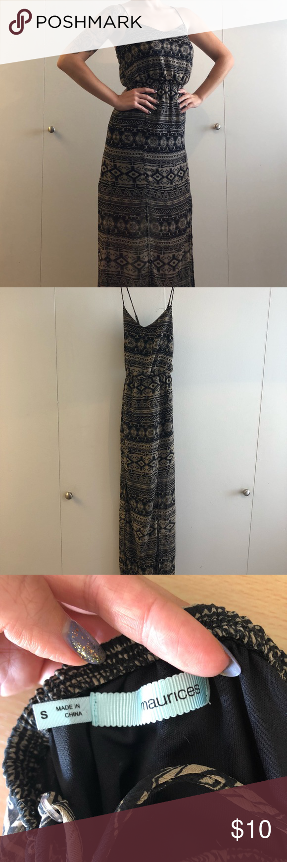 1bef43478a1d Maurice s Maxi Tribal Print Dress Good Condition. This tribal maxi dress  has a crisscross back