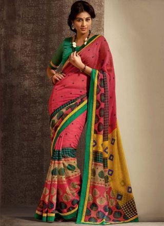 Multicolored Designer Silk Saree