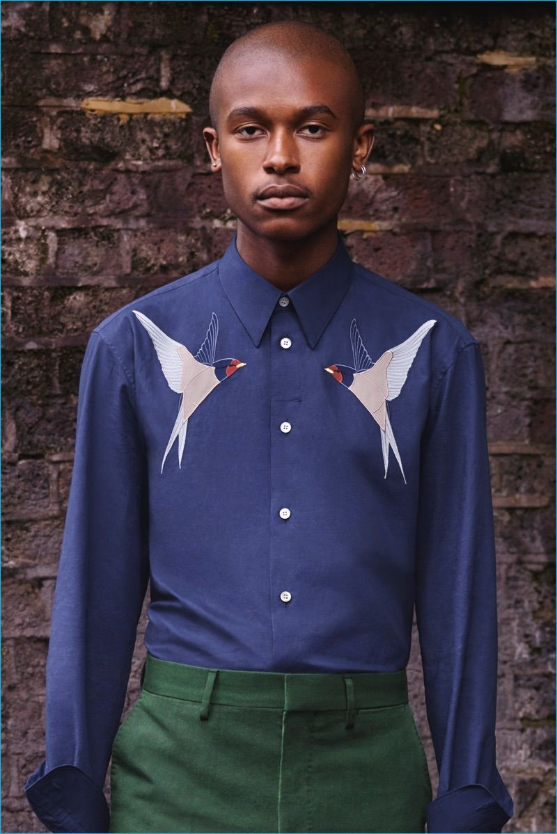 Shirt design for man 2017 - A Smart Shirt Features Two Swallow Embroideries As A Motif For Spring Summer 2017