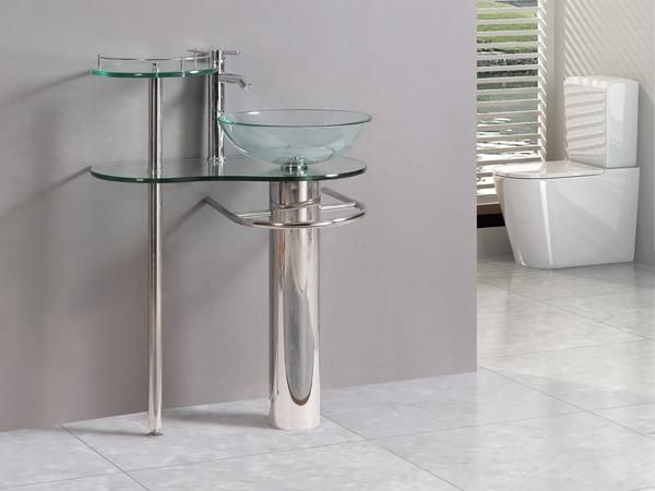 Kokols Wall Mount Bathroom Pedestal Tempered Glass Sink Vanity Combo Bowls Combos
