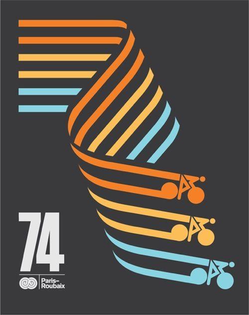 Cool poster design and color combination. Paris 74
