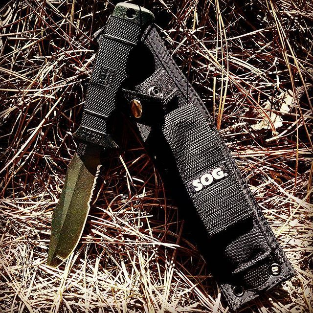 The SOG SEAL Pup Knife with Nylon Sheath M37. With a 4.75 inch fixed,,  #fixedblade #m37 #nylon #overall9inch #pup #seal #serrated #sheath #sog #sogknives