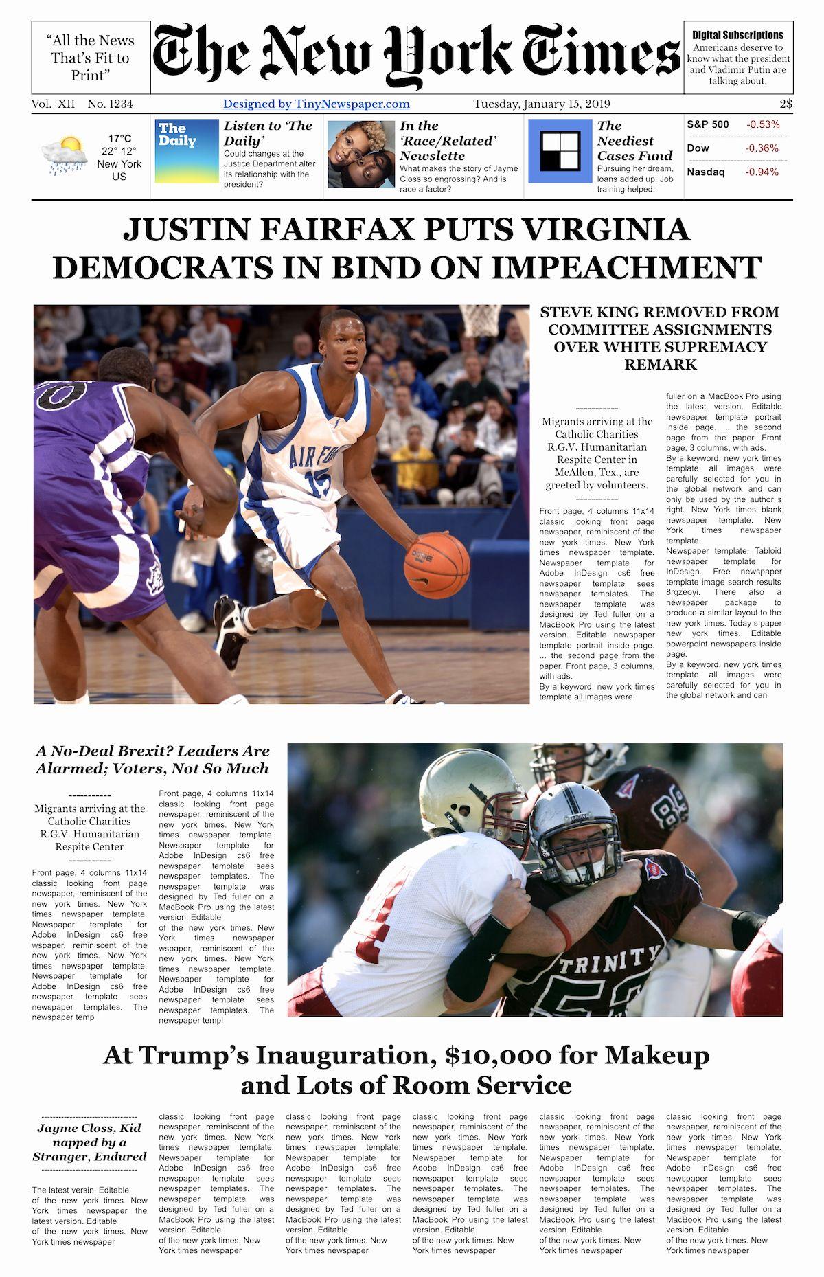 Editable New York Times Newspaper Template Newspaper Template Newspaper Layout Times Newspaper