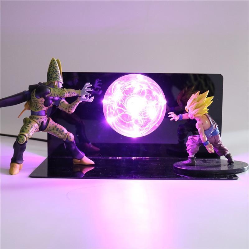 Lampe De Chevet Avec Figurines De Cell Forme Parfaite Vs Son Gohan Ssj 2 Figura De Acao Presentes Criativos Desenhos Dragonball
