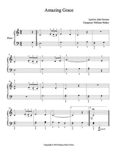 Amazing Grace Level 2 Piano Sheet Music With Images Sheet