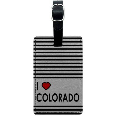 I Love Heart Colorado Leather Luggage ID Tag Suitcase Carry-On, Multicolor