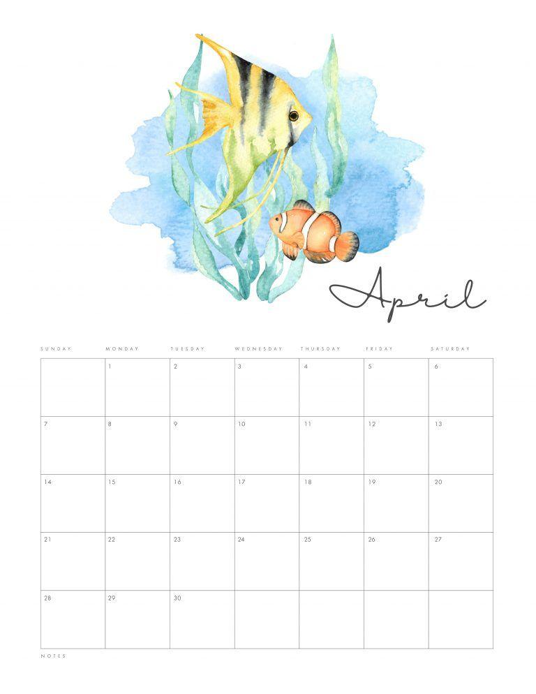 Free Printable 2019 Under The Sea Calendar Planner Organizacao