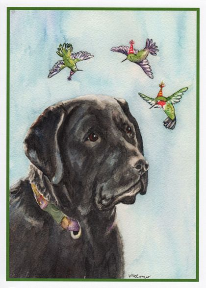 Dogs And Hummingbirds Birthday Card With Your Own Handwriting