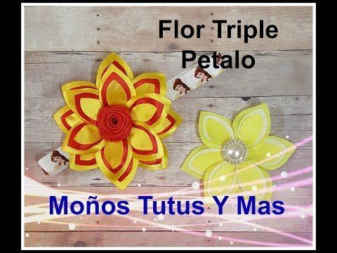 FLOR TRIPLE PETALO Paso a Paso TRIPLE PETAL FLOWER Tutorial DIY How To PAP - YouTube