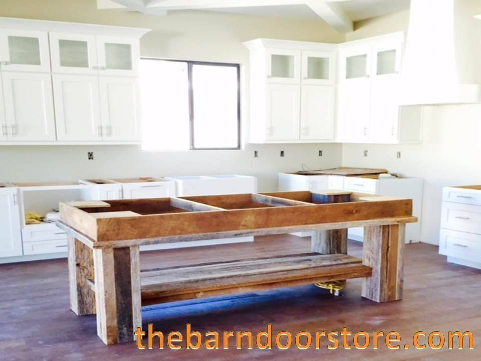 We built this custom kitchen island from reclaimed barn wood. It will receive a white marble top and be one of the shining stars in this Arcadia new build by Ventana Custom Homes. www.thebarndoorstore.com #CustomMadeKitchenIslands #KitchenIsland #HomeDecor #KitchenIdeas