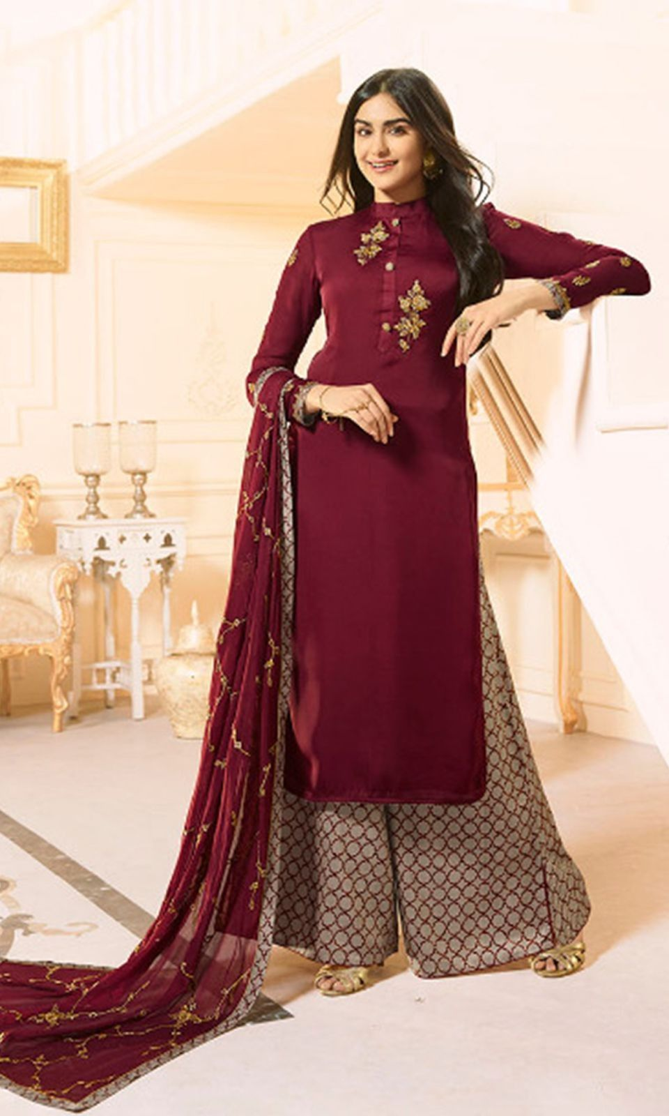c8bef39ae0 Buy online #Maroon and #Grey #Designer #Sharara Style #Suit (SKU Code :  SUENMVF6638) at Ishimaya Fashion.